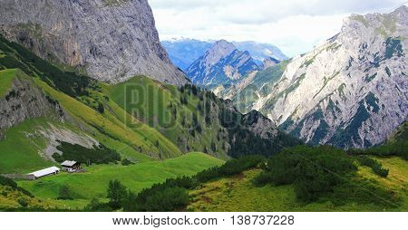 View On An Alp (gramai) In The Karwendel Mountains Of The European Alps
