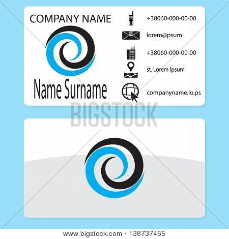 Business card with logo whirlpool branding. Business card template with water whirlpool vector vortex and swirl whirlwind logotype illustration