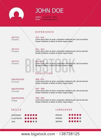 Pink and grey minimalist professional resume template