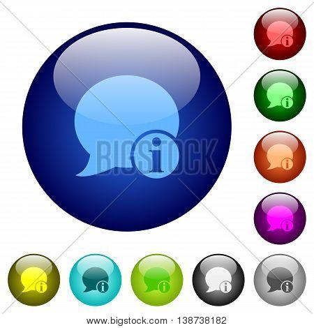 Set of color blog comment info glass web buttons.