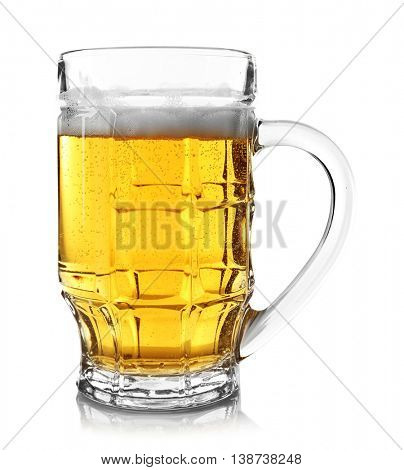 Glass of beer, isolated on white