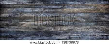 Panoramic grunge background of old wooden boards with tinted effect