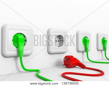 Plugs and socket on white background. 3D illustration.