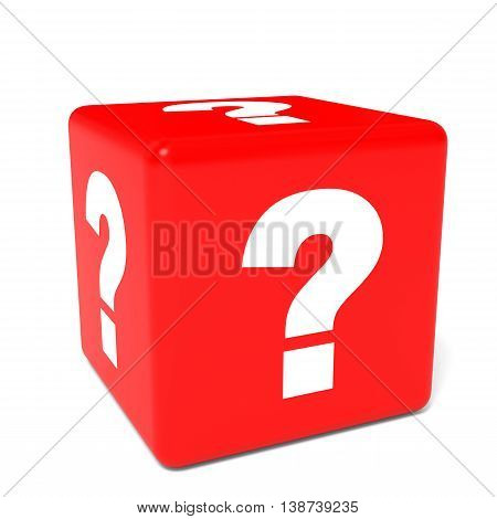 Cube with question sign on white background. 3D illustration.