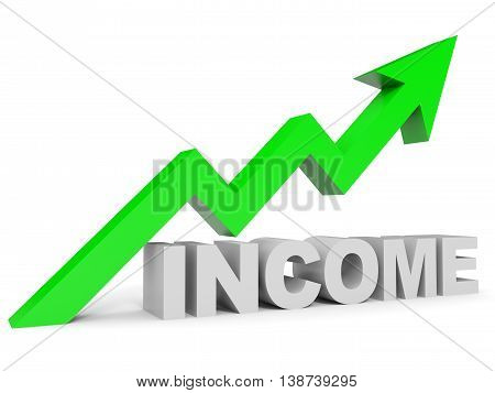 Graph up income arrow on white background. 3D illustration.