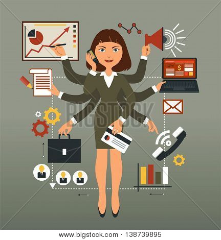Vector illustration. Business woman performs many leadership roles.