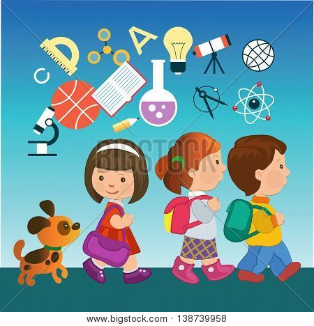 Cartoon kids going to school with education icons. Concept of modern education.