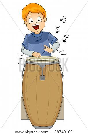 Illustration of a Little Boy Playing with a Conga Drum