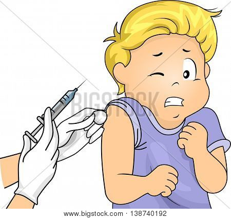 Illustration of a Little Boy Scared of Syringes