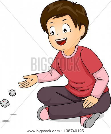 Illustration of a Little Boy Throwing Dice on the Floor