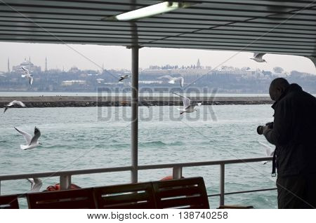 Istanbul Turkey - December 22 2012: Seagulls are everywhere in Istanbul. A tourist taking pictures of seagulls. In the background right Hagia Sophia and Topkapi palace on the left looks. Istanbul Ferries (called vapur in Turkish) continue to serve as a ke