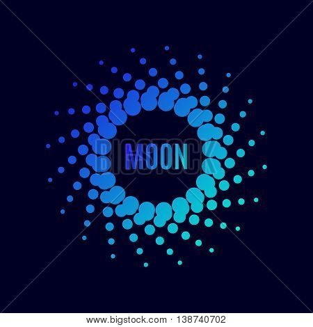 Vector poster Luna. Halftone dots circle with a gradient. Techno frame symbol of the universe, the planets of the solar system. Trendy moon flyer