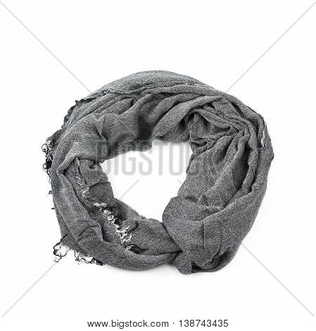 Gray infinity loops scarf isolated over the white background