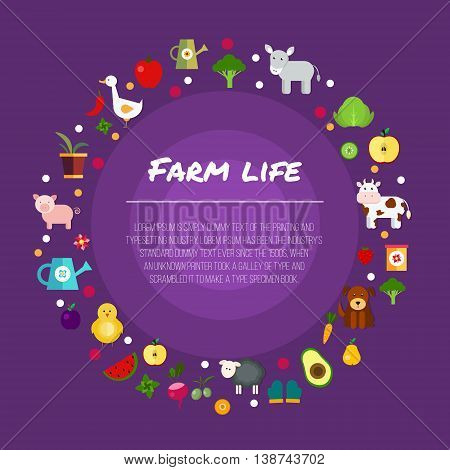 Round farm flat banners depicting life in countryside animals isolated vector illustration EPS 10