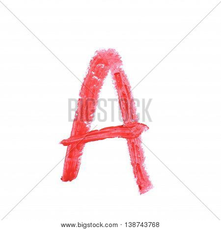 Single abc latin letter a symbol drawn with a wax crayon isolated over the white background