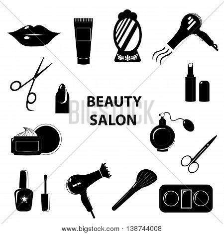 Beauty salon. Set of black line icons. Business. Vector illustration.