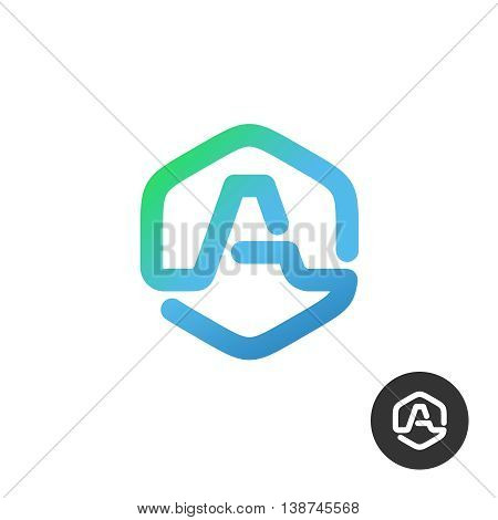 Letter A in a nut hex shape frame tech industry logo template