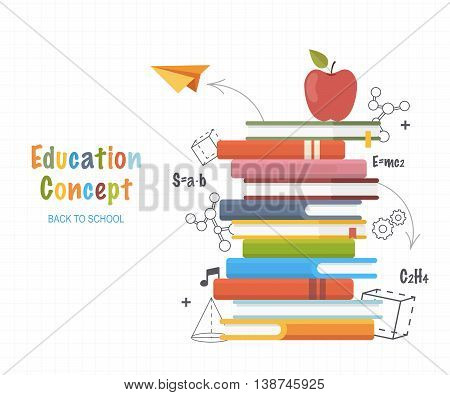 Education concept . Stack books with doodles line drawing formulas and geometric shapes.Back to School Background. Vector Illustration.