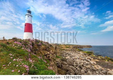 The Portland Bill Lighthouse on the Isle of Portland in Dorset, UK
