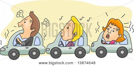 Illustration of Motorists During Rush Hour with one calm person in the middle