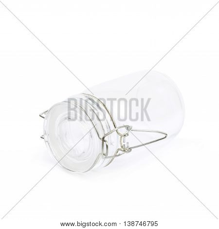 Glass jar with a lid isolated over the white background