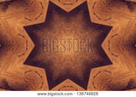Brown kaleidoscope pattern with octagonal small and big stars