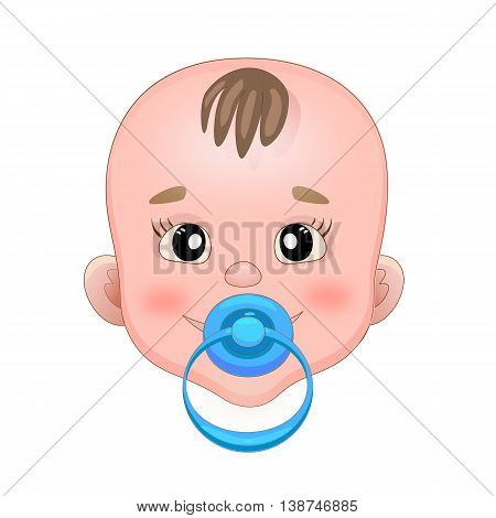 Baby with pacifier. Baby smile. Blue nipple