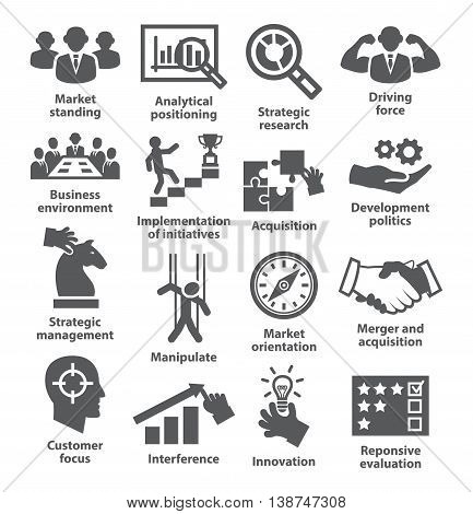 Business management icons on white. Pack 27.