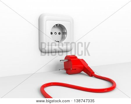 Plug and socket on white wall. 3D illustration.