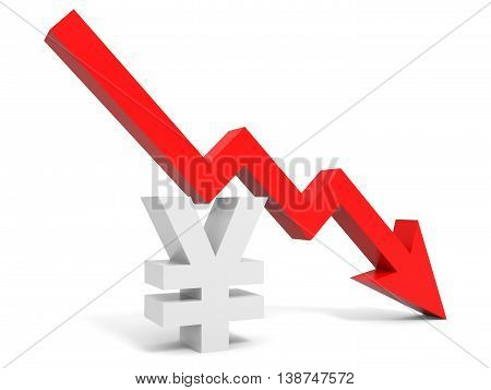 Graph Down Yena Sign Arrow.