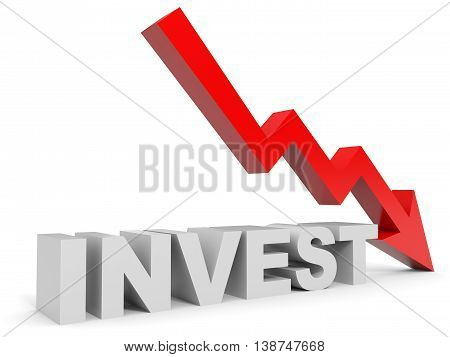 Graph down invest arrow on white background. 3D illustration.