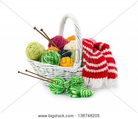 Balls Of Woolen Threads For Knitting In Wicker Basket