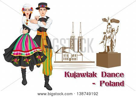 Vector design of Polish Couple performing Kujawiak dance of Poland