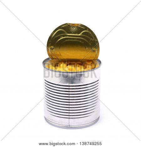 Canned corn in an opened tincan isolated over the white background