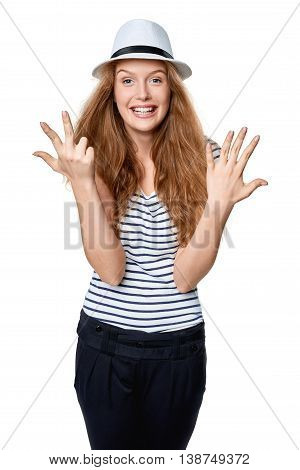 Hand counting - eight fingers. Happy excited summer woman in straw fedora hat showing eight fingers