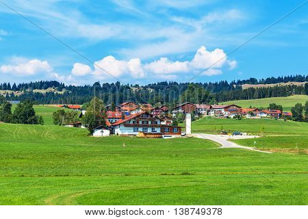 Scenic summer view of rural country suburban scene in Bavaria, Germany