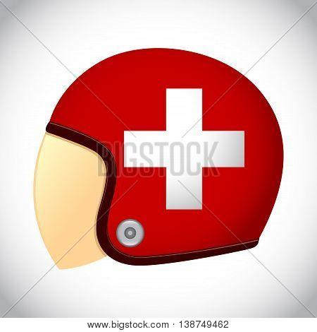 Vector stock of retro classic motorcycle helmet with Switzerland flag