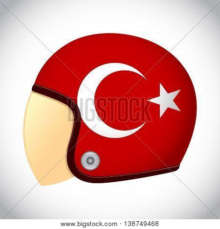 Vector stock of retro classic motorcycle helmet with Turkey flag