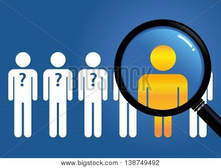 Vector stock of searching for unique people with a magnifying glass