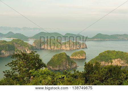 Sunset over Halong bay and Catba island, Vietnam.