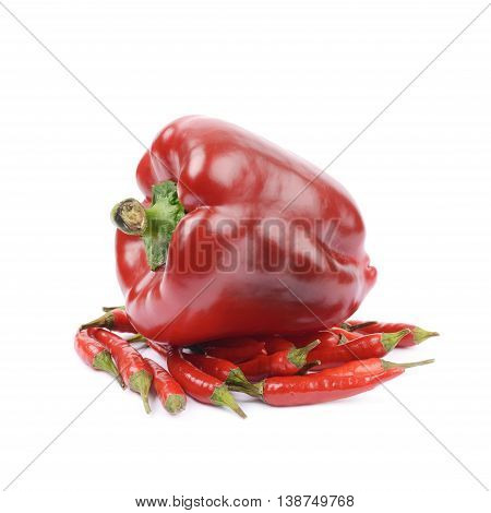 Pile of red italian peppers with a bell pepper over it, composition isolated over the white background