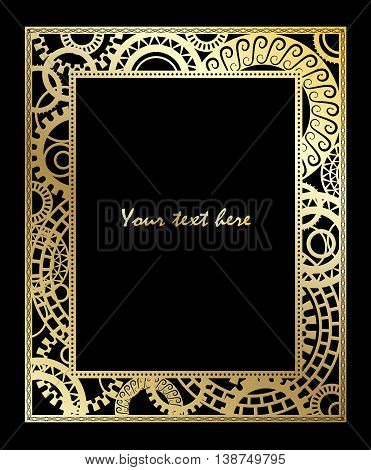 Steampunk style. Template gold steampunk design for card. Frame for your text