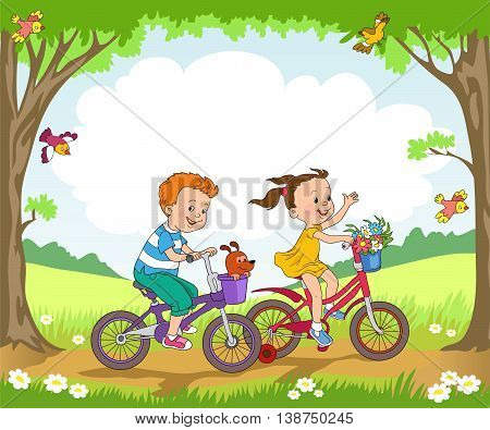 Funny kids ride bikes along the forest summer day.