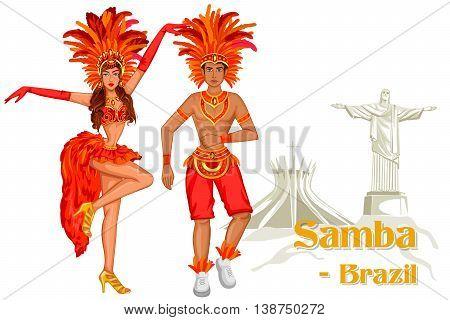 Vector design of Brazilian Couple performing Samba dance of Brazil