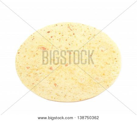 Flour tortilla flatbread isolated over the white background
