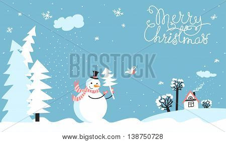Holiday card with snowman. With place for text.