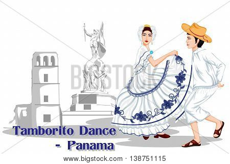 Vector design of Panamanian Couple performing Tamborito dance of Panama