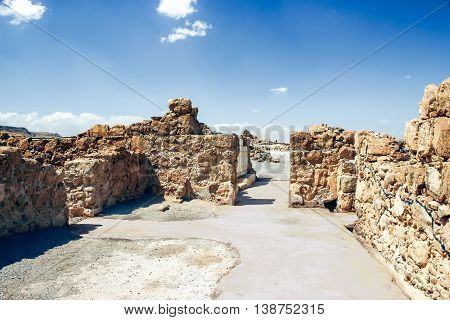 Inside the ruins of the fortress of Masada in Israel