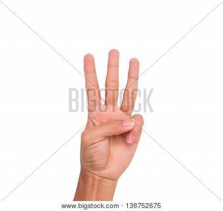A hand sign of 3 fingers point upward meaning three, third, etc. with white backgroud