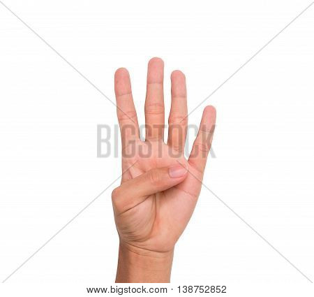 A hand sign of 4 fingers point upward meaning four, fourth, etc. with white backgroud